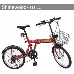 SHINEWOOD 20インチ 折りたたみ自転車 自転車 シマノ6段変速 軽量  (レッド)