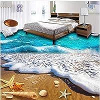 Xbwy 3Dタイルの床の壁紙現代の海のビーチ巻き貝壁画浴室の子供の寝室の自己接着防水床の壁紙の装飾-280X200Cm