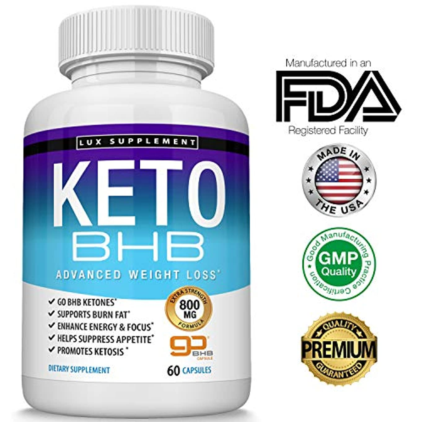 星サイレンナプキンLux Supplement ケト BHB Keto Pills Advanced ケトジェニック ダイエット 燃焼系 サプリ 60粒 [海外直送品]