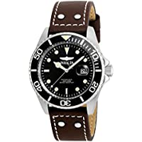 Invicta 'Pro Diver' Quartz Stainless Steel and Leather Men's Watch, Color:Brown (Model: 22069)
