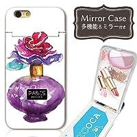 chatte noir アイフォン8Plus ケース アイフォン8Plus ケース ミラーケース 鏡付き ミラー付き カード収納 おしゃれ 香水 瓶 perfume 花 イラスト 人気 コスメ ガールズ