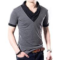 (メイク トゥ ビー) Make 2 Be スリム Vネック 半袖 Tシャツ スカーフ風 カジュアル シャツ MF01