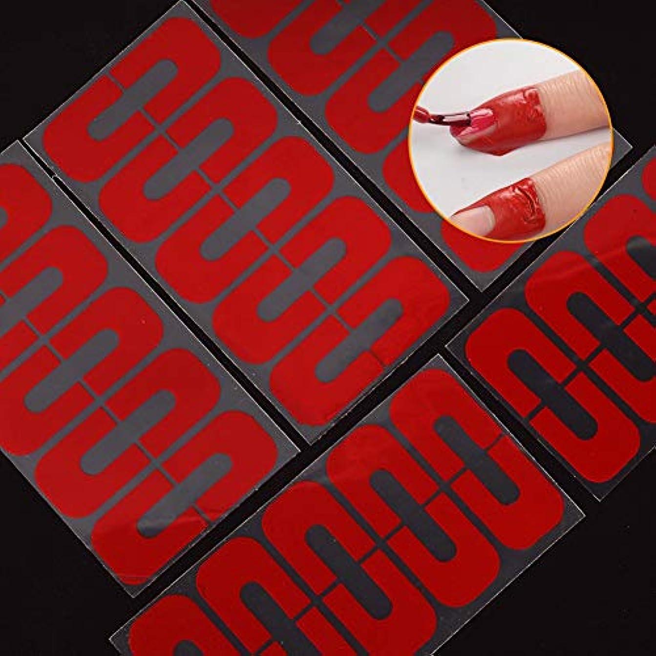 人口まさに夕方hamulekfae-50個使い捨てU字型こぼれ防止ネイルプロテクター弾性指カバーステッカー - 赤50個Red50pcs