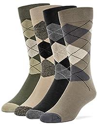 Galiva ガリヴァ 靴下 メンズ 綿 色違い アーガイル ドレスソックス 4足セット 高級コットン