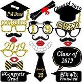 No-DIY 卒業写真ブース小道具 - 本物のグリッター | 組み立て済み | 卒業パーティー用品 2019年卒業パーティーデコレーション | 2019年の装飾 | ブラックとゴールドの卒業式デコレーション | 20個