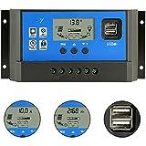PWM 50Aソーラー充電コントローラ、12V / 24V自動デュアルUSBポート、LCDディスプレイ付きインテリジェント充電レギュレータ