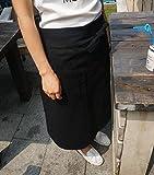 カフェ ロング エプロン サロン 綿 シェフ ソムリエ (1, 黒)