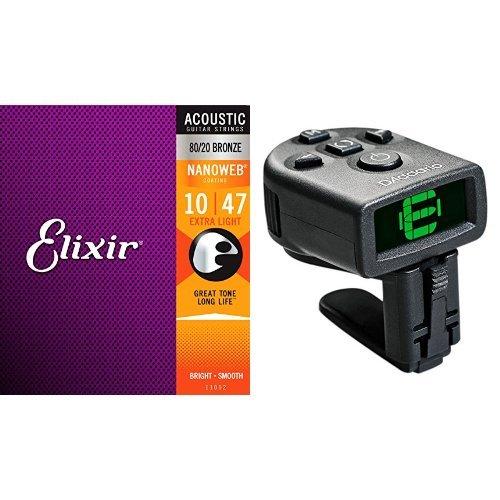 Elixir エリクサー アコースティックギター弦 NANOWEB 80/20ブロンズ Extra Light .010-.047 #11002  + Planet Waves マイクロヘッドストックチューナー