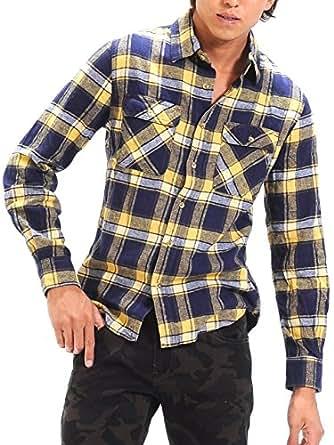 (スペイド) SPADE チェックシャツ メンズ シャツ 長袖 ウィンドーペン ネルシャツ 【w865】 (M, イエロー)
