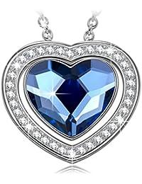 NINASUNハートのネックレス片思いスワロフスキーのブルーのクリスタルのペンダント 4Aジルコニア 金属アレルギー対応のS925シルバー レディースへバレンタインのプレゼント