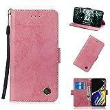Samsung Galaxy Note 9 シェル, プレミアム PU レザー 財布 ポーチ フリップ カバー シェル スクラッチ耐性 弁護者 カバーExcellent の (Pink) Phoebe 20G4-C0-334
