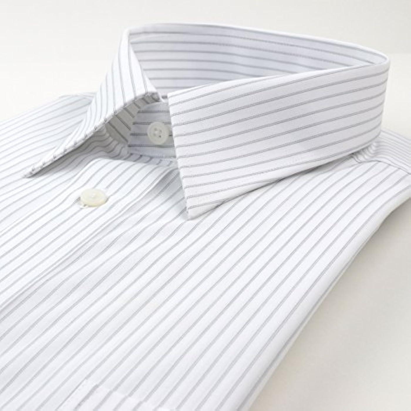 糞露背景(スーツデポ) SUIT-DEPOT 形態安定 長袖ワイシャツ レギュラーカラー グレー ストライプ えり回り44cm ゆき84cm  38Z117-24