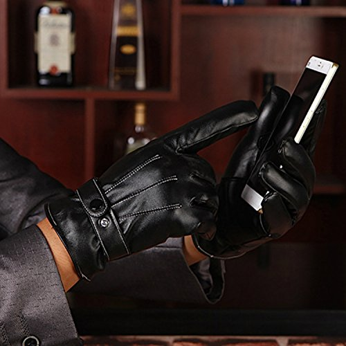adelphos スマホ 対応 人気 レザー グローブ インナー フリース メンズ 大人 男性 用 かっこいい 革 手ぶくろ 冬 防寒 手袋 裏起毛 暖かい 黒 ブラック LOGER BELDER