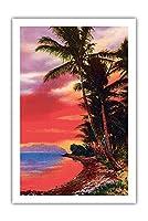アイルO '夢、ハワイ - ビンテージなハワイアンカラーのハガキ c.1930s - アートポスター - 61cm x 91cm