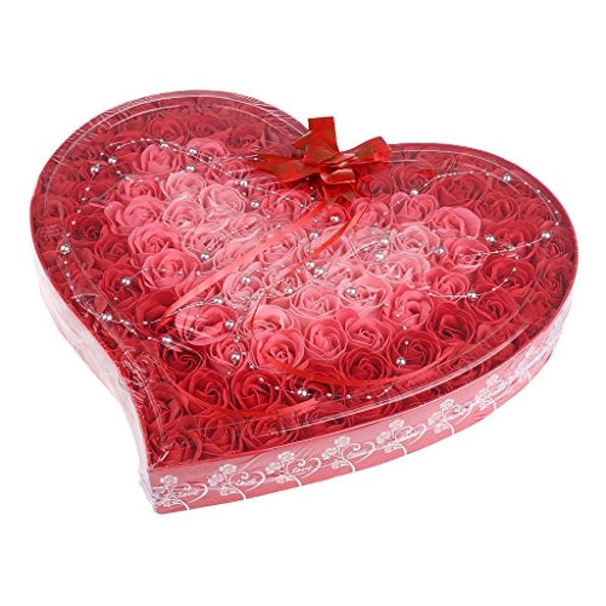 写真を描く哲学博士前投薬Fenteer ソープフラワー  約100個 心の形 ギフトボックス 石鹸の花 誕生日  プレゼント 全4色選べる - 赤