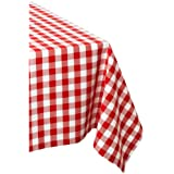 DII 100% Cotton, Machine Washable, Dinner, Summer & Picnic Tablecloth 60 x 104, Tango Red Check, Seats 8 to 10 People