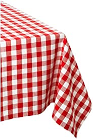 DII 100% Cotton, Machine Washable, Dinner, Summer & Picnic Tablecloth 60 x 104, Tango Red Check, Seats 8 t