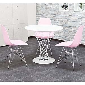 【洗練されたデザイナーズ ダイニング4点セット】 サイクロンテーブル&イームズ・チェア(3脚) ホワイト(テーブル)、ピンク(3脚セット)