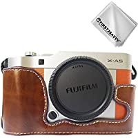 FIRST2SAVVV ダークブラウン オリンパス 富士フイルム Fujifilm X-A5 X-A10 X-A3 X-A2 XA5 専用 PU 半分レザー レフ カメラバッグ カメラケース +クリーニングクロス XJPT-XA5-D10