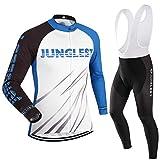 Cycling Jersey Set Wen長袖(S ~ 5X L、オプション:よだれかけ、3dパッド) n61