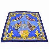 エルメス スカーフカレ Les Bissone de Venise ヴェニスの船祭り スカーフ ブルー シルク 1988年モデル ユニセックス 中古
