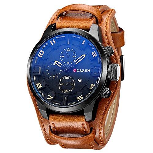[해외]시계 Zeiger 남성 가죽 패션 아날로그 대 반 날짜 표시 스포츠 (블랙)/Watch Zeiger Mens Leather Fashion Analog Capitalization Date Display Sports (Black)