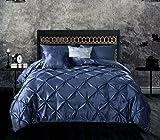 Meila 3Pieceピンチプリーツピンタックデザインラグジュアリーソフト起毛シルク布団カバーset-ホワイト/ネイビーブルー/シルバー–クイーン/キングサイズ キング ブルー COMIN18JU078020