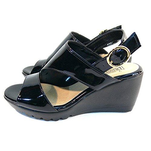 ブラックSサイズ (FIRST CONTACT) (全4色) S(22cm)~LL(25cm) 日本製 ファーストコンタクト ゴムフィットサンダル 美脚 厚底 カジュアル ウェッジ パンプス バックストラップ コンフォートシューズ