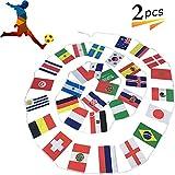 万国旗 2018 ワールドカップ 国旗 32ヶ国 連旗 人気 グッズ 応援 装飾 国際交流 カラフル 店舗 運動会 フェスティバル 飾り (2PCS)