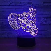Sykdybz クリエイティブ オートバイ ナイトライト 3D スパイダーマン モデリング LED カラフル グラデーションムード照明 ホームインテリア リビングルーム デスクランプ