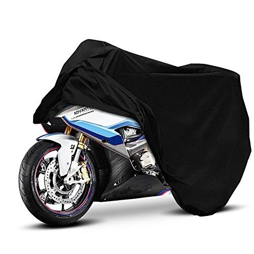 Eareba バイクカバー チェーンロック用穴付き 前後バックル付き 風飛び防止 バイクを守る バイク車体カバー 耐熱・撥水・UVカット 余裕な収納力 箱付きでもすっぽり入るバイクかばー