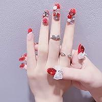 豪华なつけ爪 眩しいつけ爪 ネイルチップ ブルー ラインストーンリボンが輝く 24枚組セット 結婚式、パーティー、二次会などに ネイルアート (AF08)