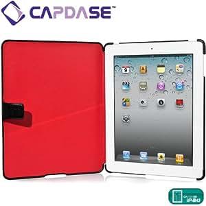 CAPDASE 日本正規品 iPad Retinaディスプレイモデル (第4世代) / iPad (第3世代) / iPad 2 対応 Capparel Protective Case: Forme, Black / Red ハンドメイド本革張レザーケース 「フォーマ」 (3段階スタンド機能・ドックコネクタ &イヤホンジャック キャップ つき) ブラック / レッド CPAPIPAD2-1019