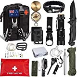 TKO Outdoor Professional Survival Kit - 20 in 1 Tactical Gear for Camping Hunting Hiking and Adventures | Equipment Including