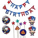 スーパーマン 誕生日 飾り付け スーパーヒーロー 子供 男の子 可愛い 格好いい レッド ブルー happy birthday ガーランド 風船 バルーン ケーキトッパー 6枚セット