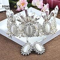 Stylish and Elegant Crown Princess Tiara Crown Crystal Party Crown Big Hair Bands Performance Hair Accessories Birthday Senior Royal Treasure Retro Black Crystal wsd (Couleurs des pierres : White)