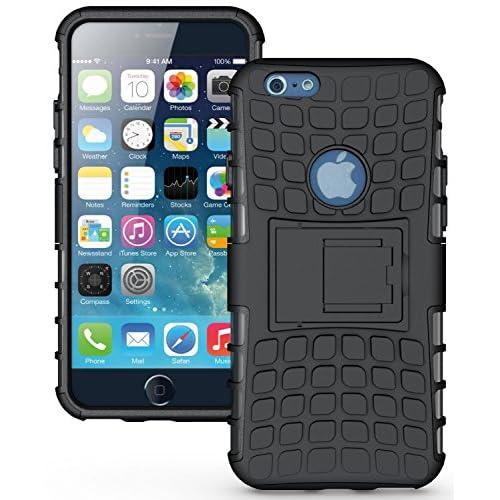 iphone6 4.7インチ plus 5.5インチ 2層式 TPU 耐衝撃ダブルアーマー シリコン ジャケット ケース カバー スタンド付 (4.7インチ, ブラック)【保証書付】