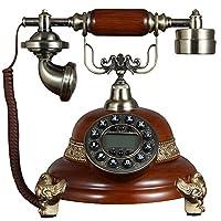 レトロ電話 リアル木製のヴィンテージ電話の固定電話のレトロ電話装飾装飾品ヨーロッパスタイルのリビングルームの装飾250 * 220 * 270ミリメートル @
