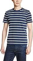 [GIORDANO] ボーダーコットンTシャツ ブルーボーダー M