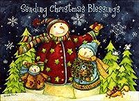 クリスマスカード 英文・英語メッセージ 専用封筒付 (スノーマンファミリー ブルー(13))