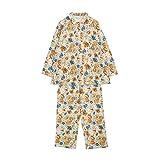 (キッドブルー) KID BLUE 接結ナイトブーケ 前開き長袖パジャマ 上下セット(OR-オレンジ、R)