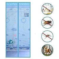 磁気スクリーンドア、ヘビーデューティメッシュカーテンフルフレーム強力な磁石蚊から遠ざけてください。昆虫のカーテン-F 100 x 200 cm(39 x 79インチ)