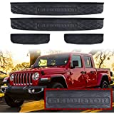 Adust Door Sill Guards Kit for 2020 Jeep Gladiator JT Accessories Parts, Door Entry Guard Kit, Plate Cover with Gladiator Logo (Black, 4 pcs)