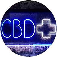 "CBD Cross Display Wall Décor Business Dual LED看板 ネオンプレート サイン 標識 White & Blue 300 x 210 mm"" st6s32-i3197-wb"