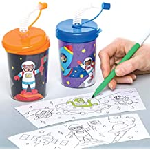 Baker Ross Solar System Colour - in Bendy Straw Cups (Pack of 3) for Kids Arts and Crafts