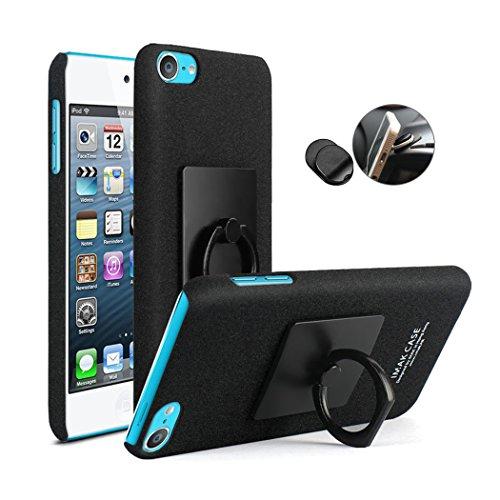 iPod touch 6 5 ケース, スタンド リング 指輪 付き 360度回転可能 アイポッド タッチ 第6世代 第5世代 ハードケース カバー 高品質 プラスチック 超薄型 保持・落下防止 + スタンド機能 + 車載ホルダー (iPod Touch 6 / iPod Touch 5, ブラック)