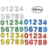 Healifty 180pcsパスター番号0-9自己粘着性の輝くバッキング不織EVA手作りの手工芸品のステッカー子供子供(盛り合わせ色)