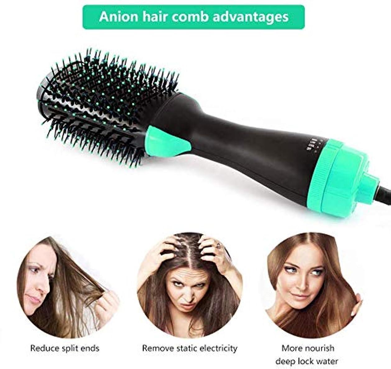 資本ハイランドアクセスできないヘアドライヤーブラシワンステップ、4-in-1ホットエアスタイラーとボリューマイザー、マイナスイオンカーラー矯正コーム、3つの温度、縮れを軽減し、長い髪に適しています,グリーン