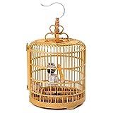 手作り 竹製鳥かご 丸籠 鳥かご・ケージ バードパレス ロイヤル 竹 小鳥用 全セット (直径33cm, ナチュラル色)