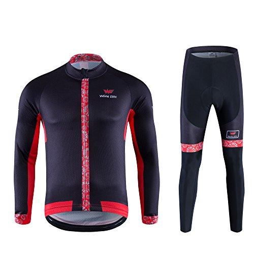 サイクルジャージ World Elite サイクルリング ウェア 長袖ジャージ 自転車ウェア 上下セット 通気 吸汗速乾  激安 サイクル ウェア  M
